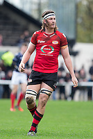 Dave McKern of Jersey during the Greene King IPA Championship match between London Scottish Football Club and Jersey at Richmond Athletic Ground, Richmond, United Kingdom on 7 November 2015. Photo by Andy Rowland.