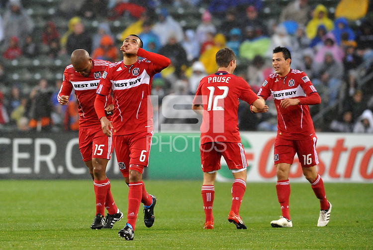 Fire players celebrtae opening goal...Kansas City Wizards played to a 2-2 tie with Chicago Fire at Community America Ballpark, Kansas City, Kansas.