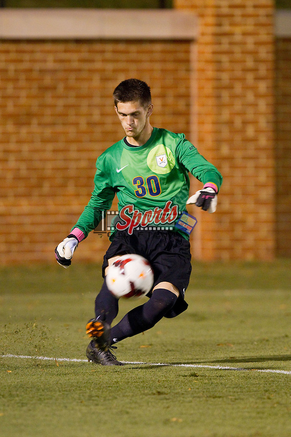 Jeff Gal (30) of the Virginia Cavaliers kicks the ball during second half action against the Wake Forest Demon Deacons at Spry Soccer Stadium on September 13, 2013 in Winston-Salem, North Carolina.  The Demon Deacons defeated the Cavaliers 3-2.  (Brian Westerholt/Sports On Film)