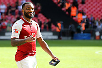Alexandre Lacazette of Arsenal celebrates winning the Community Shield as he clutches his winners medal during Arsenal vs Chelsea, FA Community Shield Football at Wembley Stadium on 6th August 2017