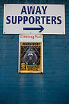 Barrow AFC 0 Newport County 3, 15/09/2012. Furness Building Society Stadium, Football Conference. A sign directing visiting supporters on Holker Street at Barrow AFC's Furness Building Society Stadium prior to the delayed kick-off of the Barrow v Newport County Conference National Fixture. Newport County eventually won the match by 3-0, watched by 802 spectators. Both Barrow and Newport County from Wales were former members of the Football League in England. Photo by Colin McPherson.
