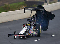Jul. 19, 2014; Morrison, CO, USA; NHRA top fuel driver Steve Chrisman during qualifying for the Mile High Nationals at Bandimere Speedway. Mandatory Credit: Mark J. Rebilas-