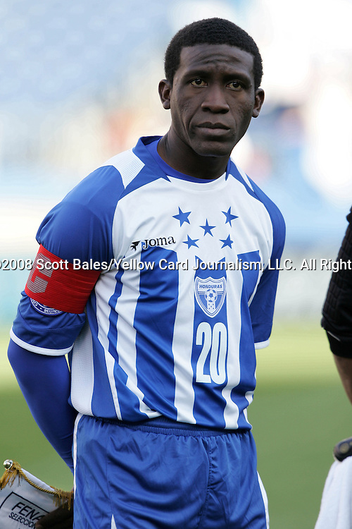 20 March 2008: Hendry Thomas (HON) (20). The Honduras U-23 Men's National Team defeated the Guatemala U-23 Men's National Team 6-5 on penalty kicks after a 0-0 overtime tie at LP Field in Nashville,TN in a semifinal game during the 2008 CONCACAF Men's Olympic Qualifying Tournament. With the penalty kick victory, Honduras qualifies for the 2008 Beijing Olympics.