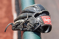 Baseball glove on June 19, 2015 at TD Ameritrade Park in Omaha, Nebraska. The Gators defeated Virginia 10-5. (Andrew Woolley/Four Seam Images)