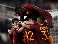Calcio, Serie A: Roma vs Juventus. Roma, stadio Olimpico, 14 maggio 2017. <br /> Roma&rsquo;s Radja Nainggolan, is hidden by teammates' hugs after scoring during the Italian Serie A football match between Roma and Juventus at Rome's Olympic stadium, 14 May 2017. Roma won 3-1.<br /> UPDATE IMAGES PRESS/Isabella Bonotto