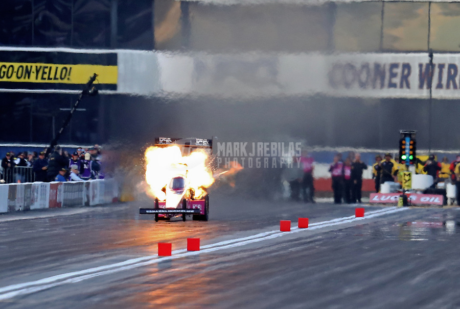 Feb 9, 2019; Pomona, CA, USA; NHRA top fuel driver Leah Pritchett explodes an engine during qualifying for the Winternationals at Auto Club Raceway at Pomona. Mandatory Credit: Mark J. Rebilas-USA TODAY Sports