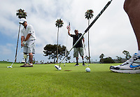 110815-N-DR144-423 SAN DIEGO (August 15, 2011) Marine Corps Cpl. Eric Rodriguez, left, and Lance Cpl. Josue Barron, right, both assigned to Naval Medical Center San Diego's Wounded Warrior Battalion West detachment, compete in the Operation: Game On! Golf Classic at the Morgan Run Resort and Club. Twenty-two combat injured service members joined paying sponsors in the golf tournament to raise more than $75,000 toward Operation: Game On!'s continuing mission of providing combat wounded military personnel with free golf lessons, specialized equipment, and playing opportunities as part of their rehabilitation programs.  U.S. Navy photo by Mass Communication Specialist 2nd Class James R. Evans (RELEASED)