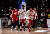 9th February 2018, Wiznik Centre, Madrid, Spain; Euroleague Basketball, Real Madrid versus Olympiacos Piraeus; Hollis Thompson (OLYMPIACOS BC) Pre-match warm-up Brian Roberts (OLYMPIACOS BC)
