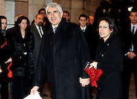 "Il leader dell'Udc Pierferdinando Casini arriva con la moglie Azzurra Caltagirone, destra, al Teatro dell'Opera di Roma, 17 marzo 2011, per la rappresentazione del Nabucco, in occasione delle celebrazioni per il 150esimo anniversario dell'Unita' d'Italia..Italian Udc center-right party's leader Pierferdinando Casini and his wife Azzurra Caltagirone, right, arrive at Rome's Opera Theater, 17 march 2011, for the representation of Verdi's Opera ""Nabucco"", in occasion of the celebrations marking the 150th anniversary of the Italian Union..UPDATE IMAGES PRESS/Riccardo De Luca"