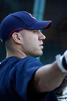 Travis Hafner of the Cleveland Indians during batting practice before a game from the 2007 season at Angel Stadium in Anaheim, California. (Larry Goren/Four Seam Images)