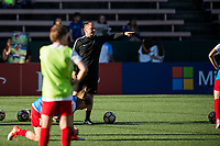 Seattle, WA - Saturday, July 1, 2017:  Portland Thorns FC  head coach Mark Parsons during a regular season National Women's Soccer League (NWSL) match between the Seattle Reign FC and the Portland Thorns FC at Memorial Stadium.