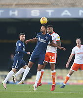 Blackpool's Curtis Tilt and Southend United's Timothee Dieng<br /> <br /> Photographer Rob Newell/CameraSport<br /> <br /> The EFL Sky Bet League One - Southend United v Blackpool - Saturday 17th November 2018 - Roots Hall - Southend<br /> <br /> World Copyright &copy; 2018 CameraSport. All rights reserved. 43 Linden Ave. Countesthorpe. Leicester. England. LE8 5PG - Tel: +44 (0) 116 277 4147 - admin@camerasport.com - www.camerasport.com