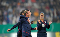Abby Wambach celebrates her goal. US Women's National Team defeated Germany 1-0 at Impuls Arena in Augsburg, Germany on October 29, 2009.