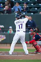Gerson Montilla (17) of the Winston-Salem Dash at bat against the Salem Red Sox at BB&T Ballpark on April 15, 2016 in Winston-Salem, North Carolina.  The Red Sox defeated the Dash 3-2.  (Brian Westerholt/Four Seam Images)