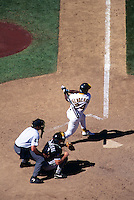 OAKLAND, CA - Rickey Henderson of the Oakland Athletics bats during a game against the Chicago White Sox at the Oakland Coliseum in Oakland, California in 1994. Photo by Brad Mangin