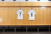 Pictured: Leon Britton and Jonjo Shelvey shirts in the home changing room. Wednesday 01 October 2014<br /> Re: Swansea City FC official squad shoot at the Liberty Stadium, south Wales, UK