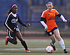 Erin Loonie #18 of Lynbrook, right, gets pressured by Keonjah Nugent #5 of Bay Shore during the first of two varsity girls soccer all-star games pitting the Nassau County seniors against their Suffolk counterparts at Bethpage High School on Friday, Nov. 25, 2016.