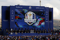 The &quot;Ryder Cup&quot; arrives on stage during the Sunday Singles Matches of the Ryder Cup at Gleneagles Golf Club on Sunday 28th September 2014.<br /> Picture:  Thos Caffrey / www.golffile.ie