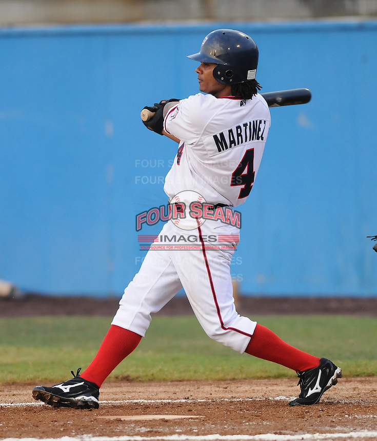 July 17, 2009: Infielder Michael Martinez (4) of the Potomac Nationals, Carolina League affiliate of the Washington Nationals, in a game against the Kinston Indians at G. Richard Pfitzner Stadium in Woodbridge, Va. Photo by: Tom Priddy/Four Seam Images