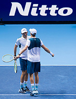Bob and Mike Bryan of the USA (5) celebrate during their victory over Jamie Murray of Great Britain and Bruno Soares of Brazil (4) - Bob and Mike Bryan def Murray/Soares 7-5, 6-7(3), 10-8<br /> <br /> Photographer Ashley Western/CameraSport<br /> <br /> International Tennis - Nitto ATP World Tour Finals - O2 Arena - London - Day 2  - Monday 13th November 2017<br /> <br /> World Copyright &not;&copy; 2017 CameraSport. All rights reserved. 43 Linden Ave. Countesthorpe. Leicester. England. LE8 5PG - Tel: +44 (0) 116 277 4147 - admin@camerasport.com - www.camerasport.com