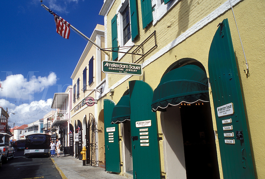 Charlotte Amalie, St. Thomas, U.S. Virgin Islands, Caribbean, USVI, Shops along Main Street in downtown Charlotte Amalie on Saint Thomas Island.