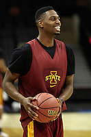 SAN ANTONIO, TX - MARCH 20, 2014: The Iowa State University Cyclones meet the press and take the court during Practice Day at the 2014 NCAA Basketball Tournament 2nd and 3rd Rounds at the AT&T Center. (Photo by Jeff Huehn)
