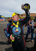 Jul 29, 2018; Sonoma, CA, USA; NHRA funny car driver Robert Hight celebrates after winning the Sonoma Nationals at Sonoma Raceway. Mandatory Credit: Mark J. Rebilas-USA TODAY Sports