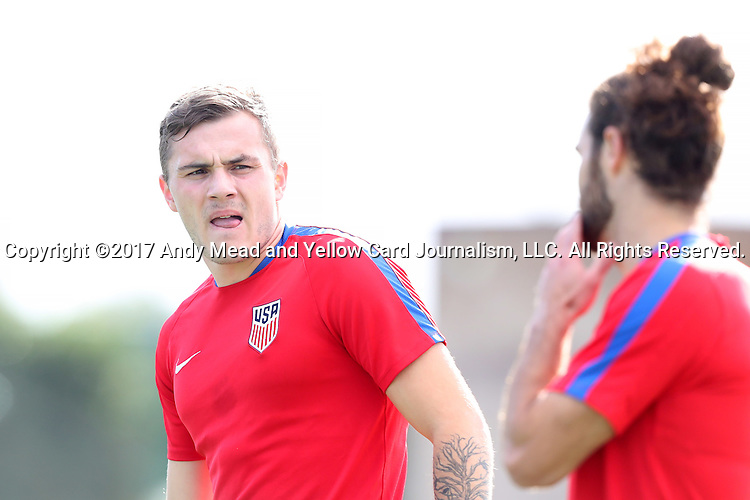 11 January 2017: Jordan Morris (left) with Graham Zusi (right). The United States Men's National Team held their first training session under new head coach Bruce Arena on The Murphy Family Field at the StubHub Center in Carson, California.