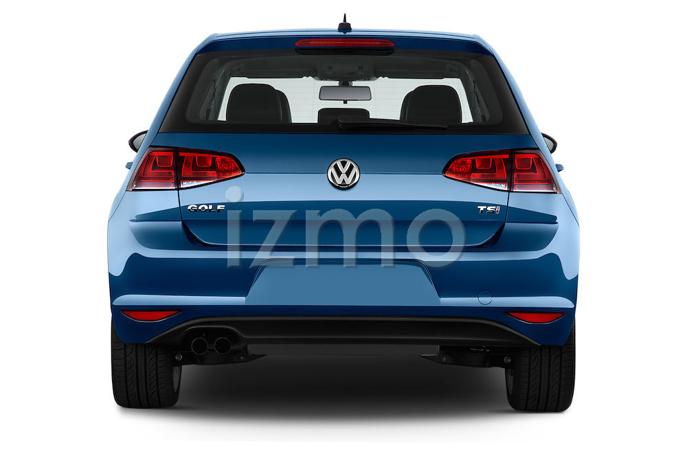 Straight rear view of a 2015 Volkswagen Golf SEL 4-door TSI  Auto PZEV 4 Door Hatchback Rear View  stock images