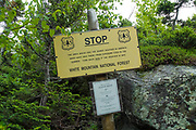 Worst Weather in the World Sign on Watson Path in the Northern Presidential Range of the White Mountain National Forest of New Hampshire.