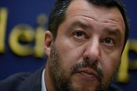Roma, 4 Marzo 2019<br /> Il Vice Premier e ministro dell'Interno Matteo Salvini presenta in conferenza stampa presso la Camera dei Deputati il disegno di legge, depositato dalla Lega, che chiede il raddoppio delle pene per chi spaccia droga.