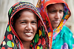 Women in Kunderpara, a village on an island in the Brahmaputra River in northern Bangladesh.