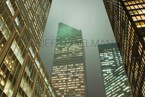 THIS IMAGE IS AVAILABLE EXCLUSIVELY FROM GETTY IMAGES.....Please search for image # 77184624 on www.gettyimages.com....Citigroup Building and other office buildings in Midtown Manhattan viewed from Park Avenue at Dusk, New York City, New York State, USA