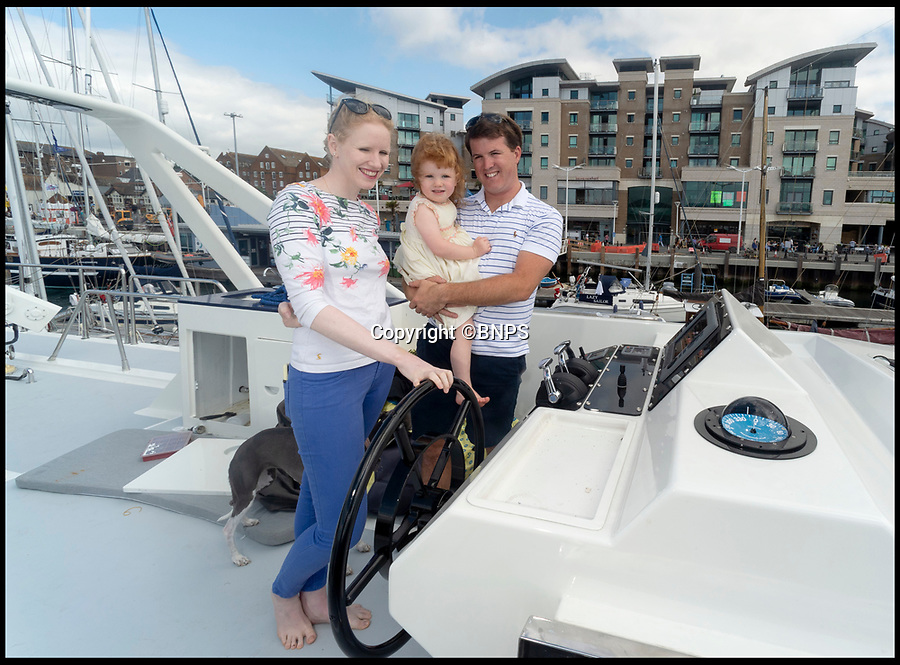 BNPS.co.uk (01202 558833)<br /> Pic: RogerArbon/BNPS<br /> <br /> Jon and Louise Stevens with daughter Juliette(2) who they named the yacht after.<br /> <br /> Who says crime doesn't pay...<br /> <br /> A couple are planning their dream life on the water after they bought a criminal's multi-million super yacht for a knock down price of £66,000.<br /> <br /> Jon and Louise Stevens bought the 85ft motor yacht 'The Cavier' in a government auction after it was seized by the police.<br /> <br /> The vessel had been abandoned in a wharf in Southampton, Hants, for 13 years and as a result was in a run down state when the couple took it over.