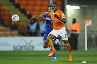 Blackpool's Armand Gnanduillet under pressure from Gillingham's Jordan Roberts<br /> <br /> Photographer Kevin Barnes/CameraSport<br /> <br /> The EFL Sky Bet League One - Blackpool v Gillingham - Tuesday 11th February 2020 - Bloomfield Road - Blackpool<br /> <br /> World Copyright © 2020 CameraSport. All rights reserved. 43 Linden Ave. Countesthorpe. Leicester. England. LE8 5PG - Tel: +44 (0) 116 277 4147 - admin@camerasport.com - www.camerasport.com
