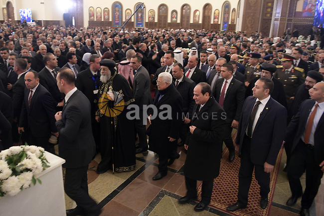 Palestinian President Mahmud Abbas and Egyptian President Abdel Fattah El-Sisi attending the opening ceremony of the Mosque of Al-Simea Al-Alim and the inauguration of the Cathedral of the Nativity of Christ in Egypt's New Administrative Capital, east of Cairo, on January 6, 2019. Photo by Thaer Ganaim