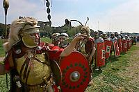Men dressed as centurions parade on street of Rome during the elebrations for the 2761st anniversary of fondation of Rome...Uomini vestiti da centurioni sfilano al Circo Massimo durante le celebrazioni per il 2761° natale di Roma.