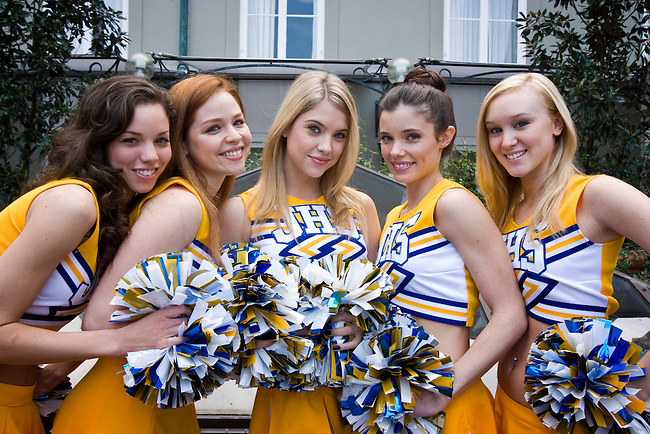 The out-of-control cheerleaders (L-R) Ashley (Stephanie Honore), Lisa Toledo (Aimee Fortier), Brooke Tippit (Ashley Benson), Jeri Blackburn (Jessica Heap) and Tabitha Doering (Ashlynn Ross), known as the Fab Five in the Lifetime Original Movie 'Fab Five: The Texas Cheerleader Scandal.'