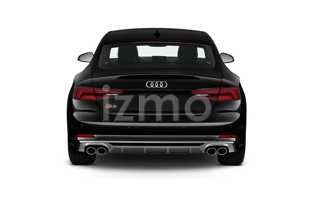Straight rear view of 2019 Audi S5 Premium-Plus 2 Door Coupe Rear View  stock images