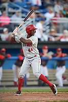 Auburn Doubledays right fielder Randy Encarnacion (44) at bat during a game against the Batavia Muckdogs on June 19, 2017 at Dwyer Stadium in Batavia, New York.  Batavia defeated Auburn 8-2 in both teams opening game of the season.  (Mike Janes/Four Seam Images)