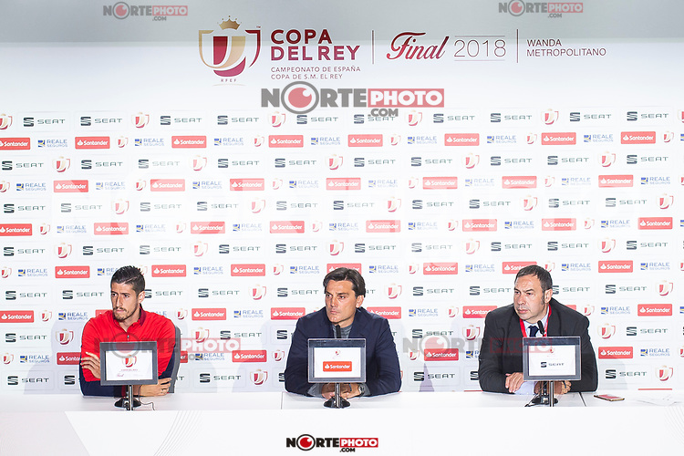Sevilla Sergio Escudero and coach Vincenzo Montella during press conference the day before King's Cup Finals match between Sevilla FC and FC Barcelona at Wanda Metropolitano in Madrid, Spain. April 20, 2018. (ALTERPHOTOS/Borja B.Hojas) /NortePhoto.com