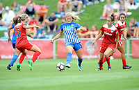 Boyds, MD - Saturday August 12, 2017: Estefanía Banini, Rosie White, Havana Solaun, Caprice Dydasco during a regular season National Women's Soccer League (NWSL) match between the Washington Spirit and The Boston Breakers at Maureen Hendricks Field, Maryland SoccerPlex.
