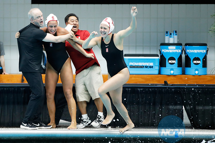 INDIANAPOLIS, IN - MAY 14: Stanford University coaches John Tanner (left) and Kyle Utsumi celebrate with their players after winning the Division I Women's Water Polo Championship against UCLA held at the IU Natatorium-IUPUI Campus on May 14, 2017 in Indianapolis, Indiana. (Photo by Joe Robbins/NCAA Photos/NCAA Photos via Getty Images)
