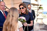 """---- NO TABLOIDS, NO WEB -- EXCLUSIF - Le Prince Albert II de Monaco et la Princesse Caroline de Hanovre lors de la Ciné-conférence avec la projection du film """"L'invention de Monte Carlo"""", 150 ans d'histoire en images, proposée par les Archives audiovisuelles de Monaco et les Archives du Palais Princier de Monaco, le 22 juin 2016 à l'Opéra Garnier de Monaco. Ce film documentaire commenté en direct sur la scène de l'Opéra relate toute l'histoire de ce quartier de la Principauté : """"Monte Carlo"""" rendu célébre dès le début du XXeme siécle par son Casino puis par les nombreuses manifestations de prestiges qui y ont été organisées autant culturelles, comme les ballets ou les concerts de musique classique, ou que le Festival de Télévision, mais aussi sportives comme les départs des Rallyes de Monte Carlo. A travers ce quartier mythique de la Principauté, le spectateur est plongé dans l'histoire de Monaco et de son développement touristique et économique, de la création de la Société des Bains de Mer (SBM), au face à face entre le Prince Rainier III et Onassis, sans oublier les nombreux films tournés à Monte Carlo. # LE PRINCE ALBERT DE MONACO ET LA PRINCESSE CAROLINE A UNE CINE-CONFERENCE A L'OPERA GARNIER DE MONACO"""