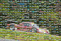 A race car mosaic made up of hundreds of Daytona Prototypes Grand-Am race car photo.  (Photo by Brian Cleary/www.bcpix.com)