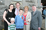 Ben Hilliard with Tadhg Hilliard, Joanne Fox, Ciaran Hilliard, Clare Hilliard and Paddy Hilliard at his Confirmation in Tullyallen...Photo NEWSFILE/Jenny Matthews.(Photo credit should read Jenny Matthews/NEWSFILE)....This Picture has been sent you under the condtions enclosed by:.Newsfile Ltd..The Studio,.Millmount Abbey,.Drogheda,.Co Meath..Ireland..Tel: +353(0)41-9871240.Fax: +353(0)41-9871260.GSM: +353(0)86-2500958.email: pictures@newsfile.ie.www.newsfile.ie.FTP: 193.120.102.198.