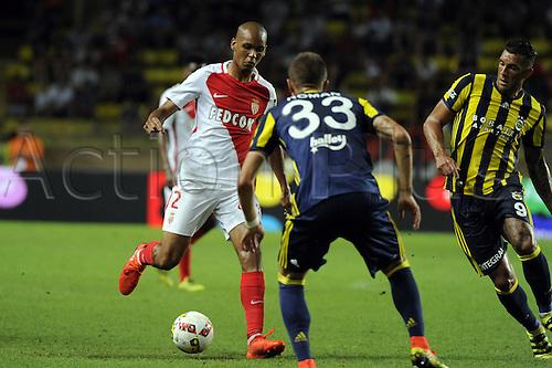 03.08.2016. Monaco, France. UEFA Champions league qualifying round, AS Monaco versus Fenerbahce.  Fabinho (mon) takes on Roman of Fenerbahce