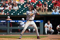 Drew Mendoza (22) of the Florida State Seminoles at bat against the Louisville Cardinals in Game Eleven of the 2017 ACC Baseball Championship at Louisville Slugger Field on May 26, 2017 in Louisville, Kentucky. The Seminoles defeated the Cardinals 6-2. (Brian Westerholt/Four Seam Images)