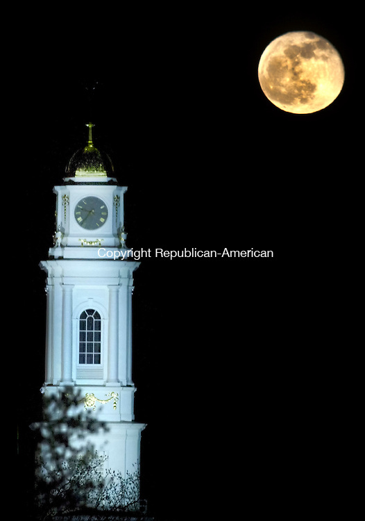 Waterbury, CT- 26 April 2013-042613CM17-   Although the full moon was observed on April 25, 2013, it shined over City Hall in Waterbury Friday night.  According to the National Weather Service, the moon phase, waning gibbous, was visible tonight, with 99% of the it's visible disk illuminated.    Christopher Massa Republican-American