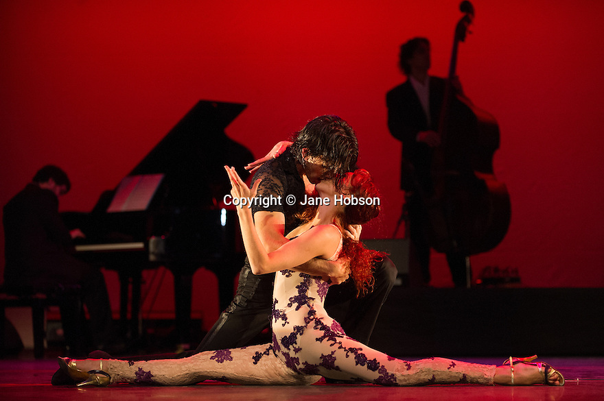 London, UK. 30.01.2013. Tango Fire Company presents FLAMES OF DESIRE at the Peacock Theatre. Picture shows: Sebastian Alvarez and Victoria Saudelli. Photo credit: Jane Hobson.
